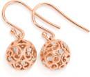 9ct-Rose-Gold-Two-Tone-Filigre-Drop-Earrings Sale