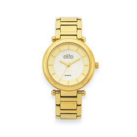 elite-Ladies-Gold-Tone-Round-White-Mother-Of-Pearl-Dial-Bracelet-Watch on sale