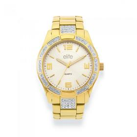 Elite-Ladies-Gold-Tone-Stone-Set-Watch on sale