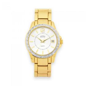 elite-Ladies-Gold-Tone-Large-Round-Stone-Case-With-Date-Braclet-Watch on sale