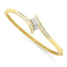 9ct-Gold-60mm-Diamond-Bangle on sale