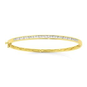 9ct-Gold-Diamond-Bangle on sale