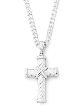 Silver-Fancy-Twist-Cross-Pendant on sale