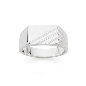 Silver-Mens-Rectangle-Groove-Ring on sale