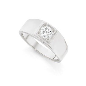 Silver-CZ-In-Square-Set-Gents-Ring on sale