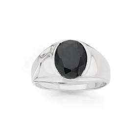 Silver-Oval-Black-CZ-Gents-Ring on sale
