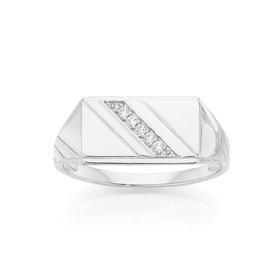 Silver-CZ-Diagonal-Line-Centre-Mens-Ring on sale