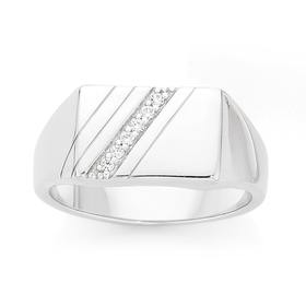 Silver-Rectangle-Cubic-Zirconia-Gents-Ring on sale