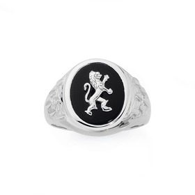Silver-Mens-Lion-Signet-Ring on sale