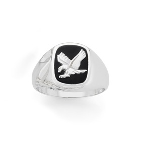 Silver-Onyx-Eagle-Ring on sale