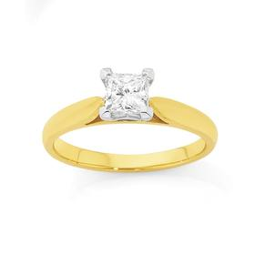 18ct-Two-Tone-Diamond-Solitaire-Engagement-Ring on sale