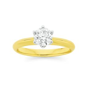 18ct-Gold-Diamond-Round-Brilliant-Cut-Solitaire-Ring on sale