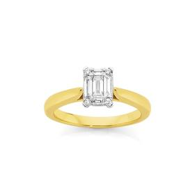 9ct-Gold-Two-Tone-Diamond-Engagement-Ring on sale