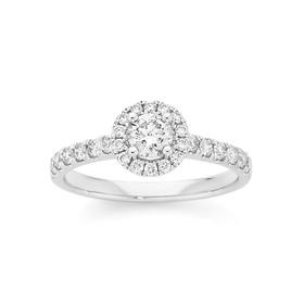 18ct-White-Gold-Diamond-Round-Brilliant-Cut-Frame-Shoulder-Ring on sale