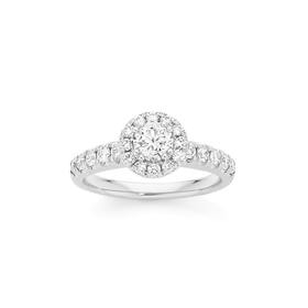 18ct-White-Gold-Diamond-Round-Brilliant-Cut-Halo-Shoulder-Set-Ring on sale