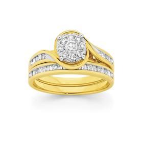 9ct-Gold-Diamond-Round-Brilliant-Bridal-Set on sale