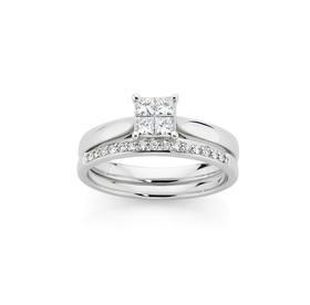 9ct-White-Gold-Diamond-Bridal-Ring-Set on sale