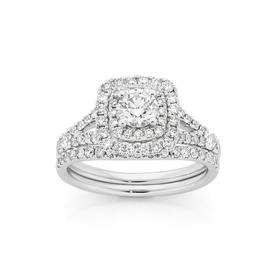 18ct-White-Gold-Diamond-Bridal-Ring-Set on sale