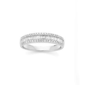 18ct-White-Gold-Diamond-Baguette-Round-Brilliant-Cut-Ring on sale