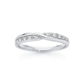 9ct-White-Gold-Twist-Over-Diamond-Band on sale