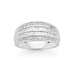 9ct-White-Gold-Diamond-Four-Row-Dress-Ring on sale