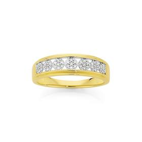 9ct-Gold-Diamond-Cluster-Band on sale