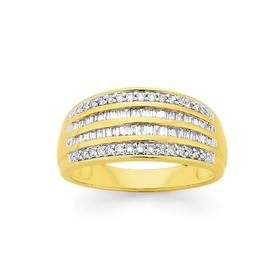 9ct-Gold-Diamond-Round-Brilliant-Baguette-Cut-Dress-Ring on sale