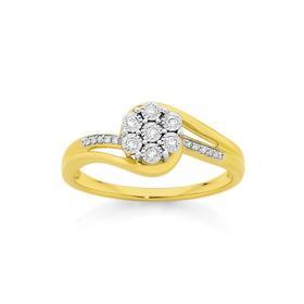 9ct-Gold-Diamond-Flower-Cluster-Dress-Ring on sale