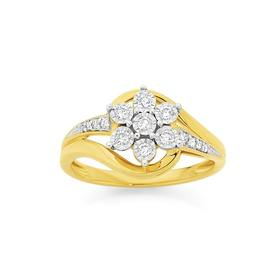 9ct-Gold-Diamond-Flower-Dress-Ring on sale