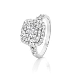 9ct-White-Gold-Cushion-Cluster-Diamond-Ring on sale