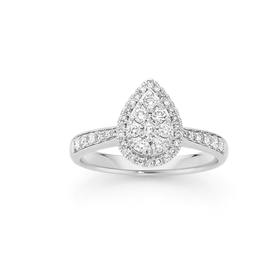 9ct-White-Gold-Diamond-Round-Brilliant-Cut-Cluster-Tear-Drop-Shoulder-Ring on sale