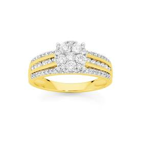 9ct-Gold-Diamond-Cluster-Dress-Ring on sale
