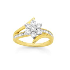 9ct-Two-Tone-Diamond-Cluster-Ring on sale