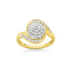 9ct-Gold-Diamond-Cluster-Swirl-Ring on sale