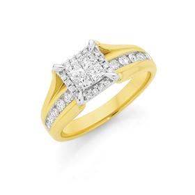 18ct-Gold-Diamond-Princess-Cut-Round-Brilliant-Cut-Invisible-Set-Square-Under-Rail-Ring on sale