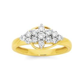 9ct-Gold-Diamond-Cluster-Flower-Ring on sale