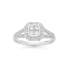 9ct-White-Gold-Diamond-Dress-Ring on sale