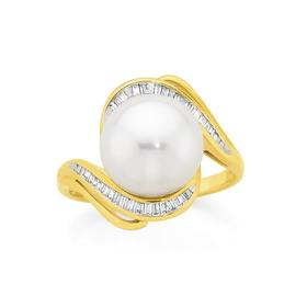 9ct-Gold-Cultured-Fresh-Water-Pearl-Diamond-Curve-Ring on sale