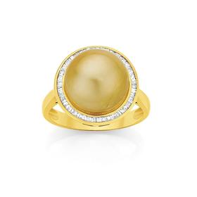 9ct-Gold-Cultured-South-Sea-Pearl-Diamond-Ring on sale