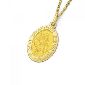 9ct-St.-Christopher-Oval-Pendant on sale