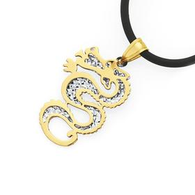 9ct-Gold-Two-Tone-Dragon-Pendant on sale