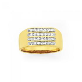 9ct-Gold-Mens-Diamond-Ring-0.50ct-Total-Diamond-Weight on sale
