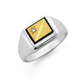 9ct-Gold-Sterling-Silver-Diamond-Onyx-Gents-Ring on sale