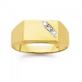 9ct-Gold-Diamond-Gents-Ring on sale
