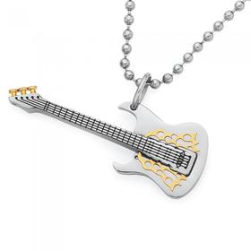 Stainless-Steel-Gold-Plate-Guitar-Pendant on sale