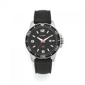 Chisel-Mens-Steel-Date-Black-Silicone-Strap-100-Meter-Water-Resistant-Watch on sale