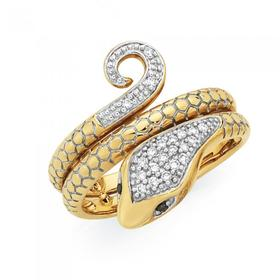 9ct-Gold-Diamond-Snake-Ring on sale