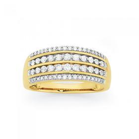 9ct-Gold-Diamond-Four-Row-Dress-Ring on sale