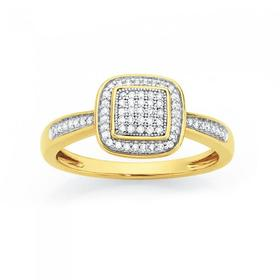 9ct-Gold-Diamond-Cushion-Frame-Ring on sale