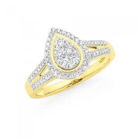 9ct-Gold-Diamond-Pear-Shape-Dress-Ring on sale